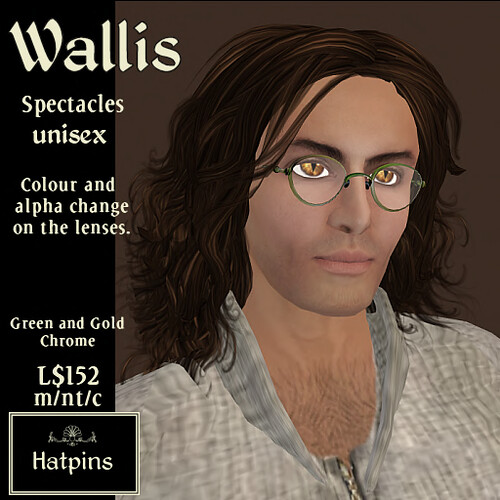Wallis Spectacles - Green and Gold Chrome