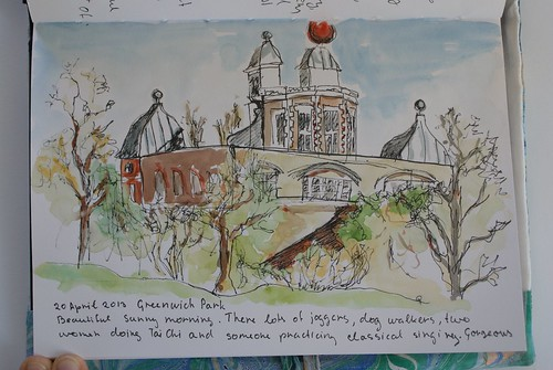Sketch of Greenwich Royal Observatory, UK