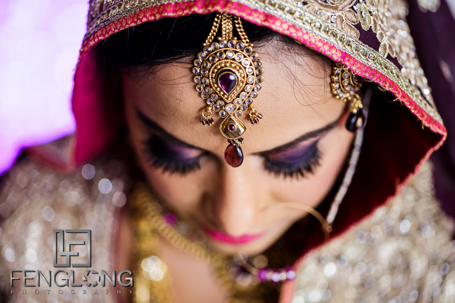 Close up of bride's tikka on her wedding day