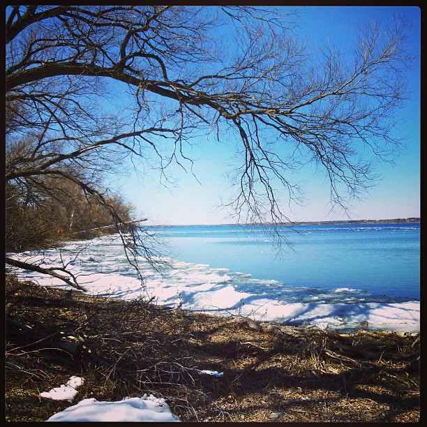 Apr 7 - what I watch {the ice leaving the Bay of Quinte. Photo taken yesterday @ Prinyer's Cove} Looking forward to spring & warm weather #photoaday #princeedwardcounty #bayofquinte #lakeice #spring #prinyerscove