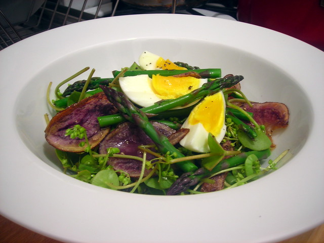 """Asparagus and potatoes"" -- homemade sea salt-and-sherry vinegar heirloom potato chips, asparagus, hard-cooked farm egg and winter purslane"