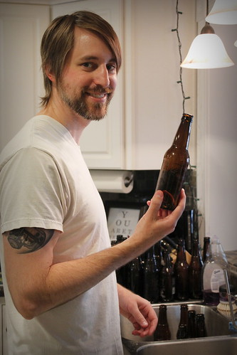 20130426. Prepping bottles for bottling.