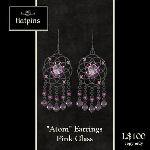 Atom Earrings - Pink Glass