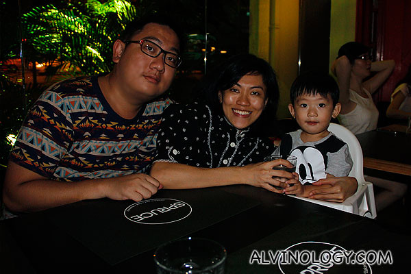 Me with my wife and son, having a great dinner at Spruce