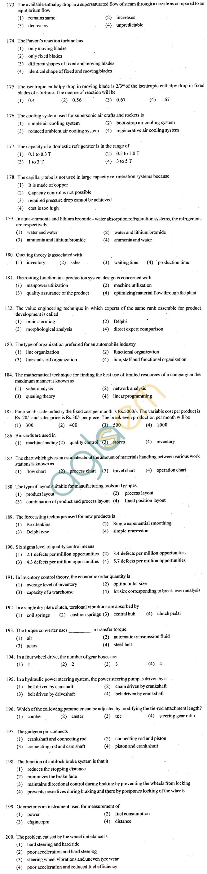 ECET 2012 Question Paper with Answers - Mechanical Engineering