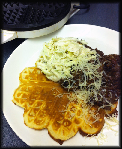 Gram flour waffles with Cola-braised beef (or chili con carne)