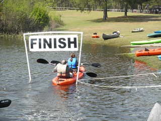 Paddlers at the finish