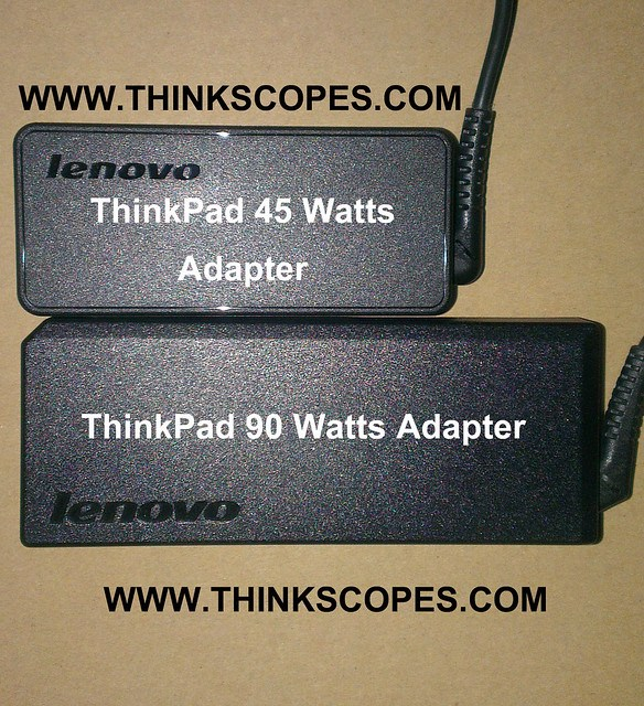 ThinkPad 45 watts adapter vs 90 watts adapter (top view)