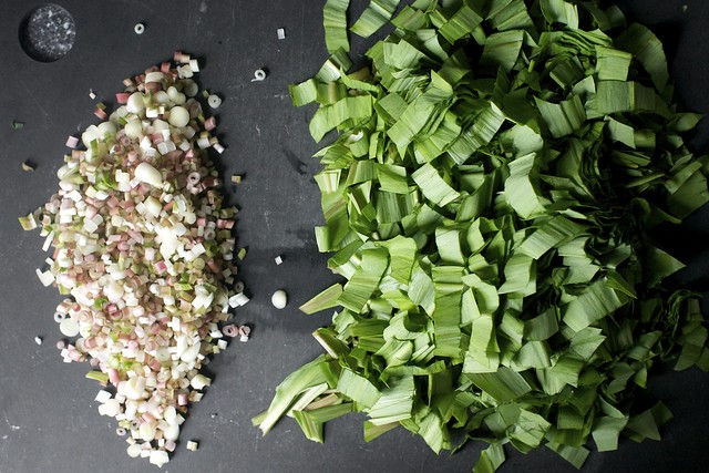 mince the bulbs, coarsely slice the greens