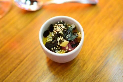 cauliflower, uni and caviar parfait