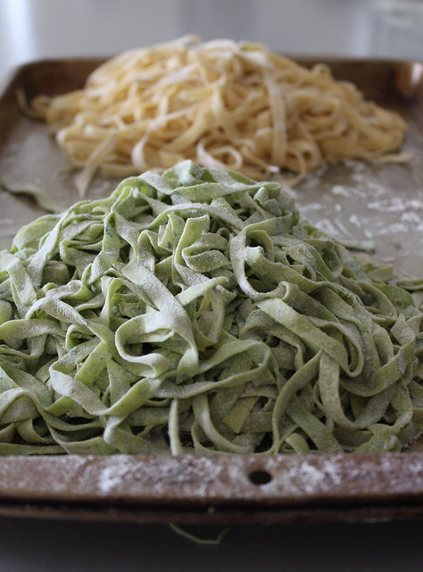Green and yellow pasta