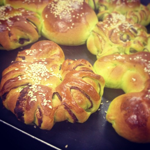 Red bean pandan buns :)
