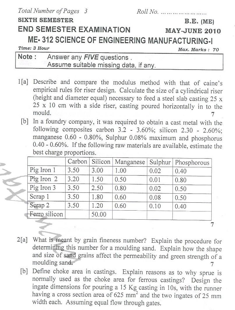 DTU Question Papers 2010 – 6 Semester - End Sem - ME-312