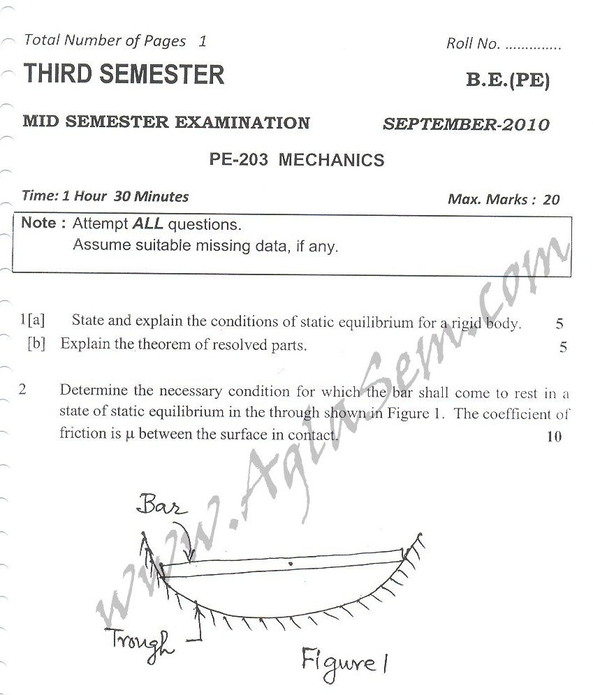 DTU Question Papers 2010 – 3 Semester - Mid Sem - PE-203