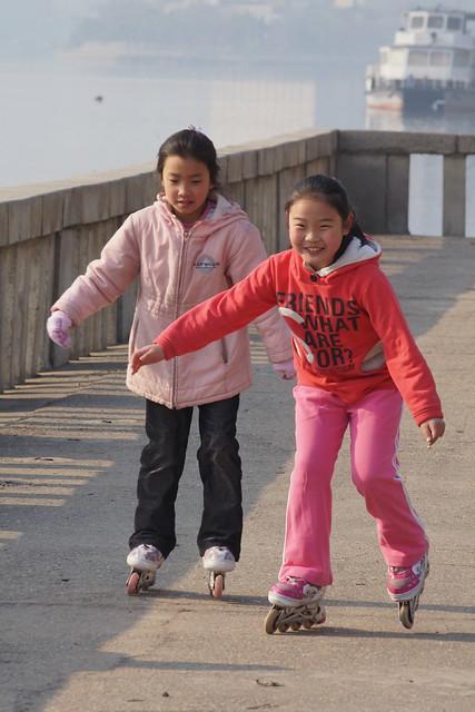 Rollerblading in Pyongyang, North Korea