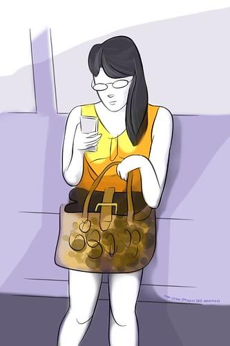"""Crocodile skin handbag"" (#113: Project 365 Sketches)"