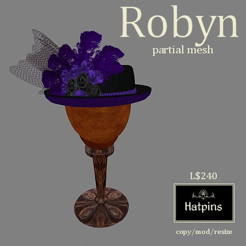Hatpins - Robyn Hat - Plum (new)