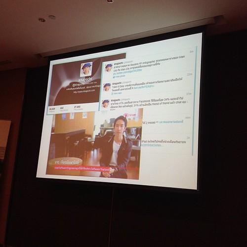@pakada1881 แนะนำ @khajochi ตัวอย่างแบรนด์ดิ้งเรื่องการใช้ social media นศ.รู้จักเพราะทำเว็บ MacThai และเป็นกสยฟพทสตจ #waytowork