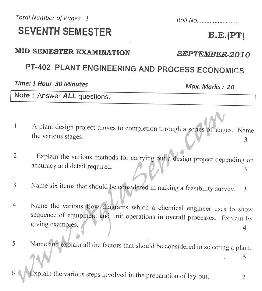 DTU Question Papers 2010 – 7 Semester - Mid Sem -  PT-402