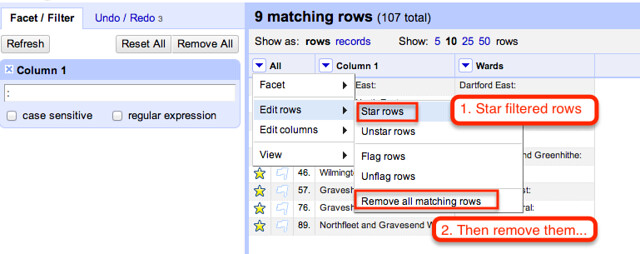 reset filter, star rows, then remove them...