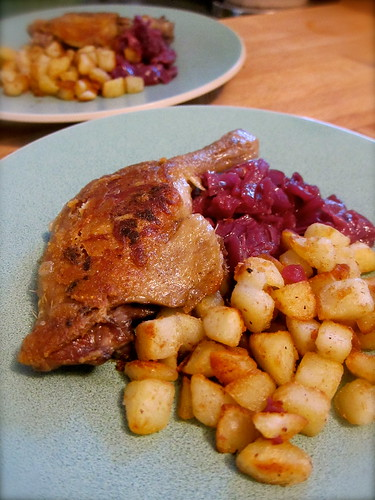 Duck Confit with Ginger-Braised Red Cabbage