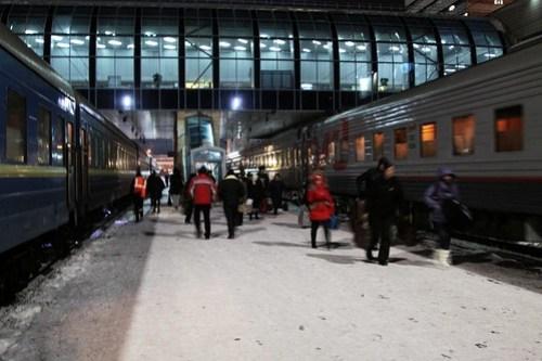 Укрзалізниця (Ukrainian Railways) and РЖД (Russian Railways) trains at Rostov-on-Don