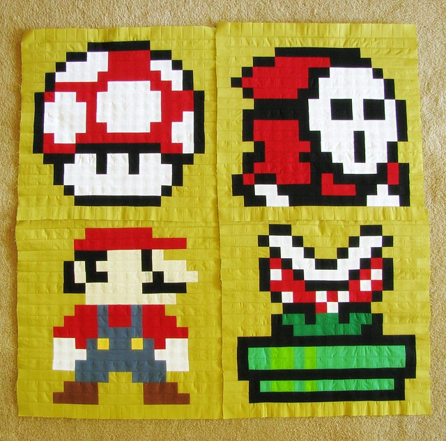 Super Mario Bros Quilt Blocks Four