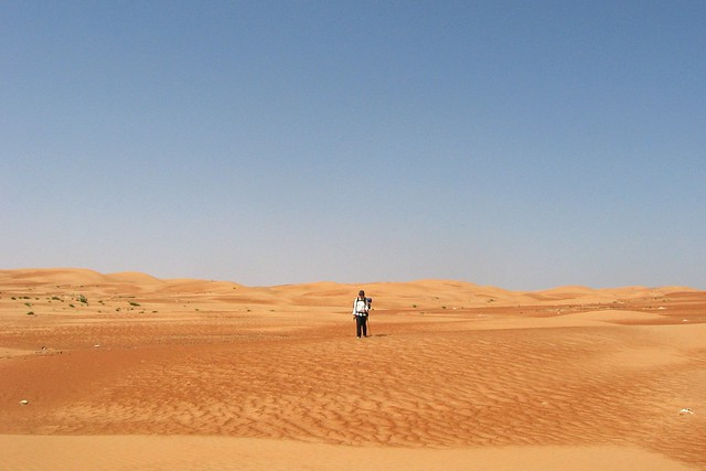Tiny person in a vast desert expanse