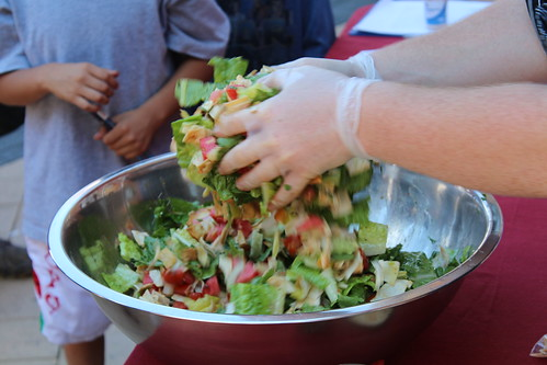 Making fattoush for the market shoppers