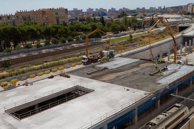 Hormigonado de nueva losa en la nueva estación de Sant Andreu - 07-08-12