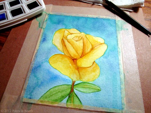 Day 234 Watercolor Rose by pixygiggles
