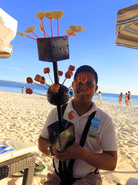 Discovery Shores Boracay beach pampering- bacon wrapped hotdog