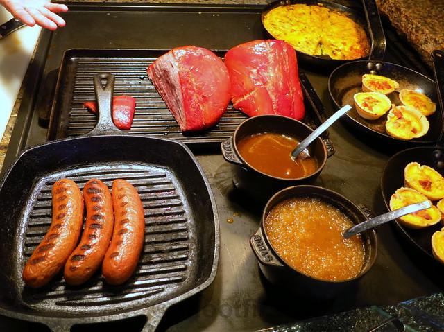 grilled sausage, ham, quiche & fritata