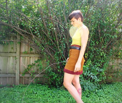 20120818. Handknit skirt, using the Bryn Mawr pattern.