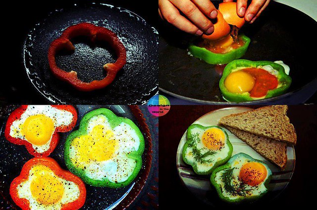 Cooking egg using pepper slice