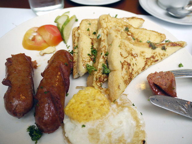 french toast, egg, sausages