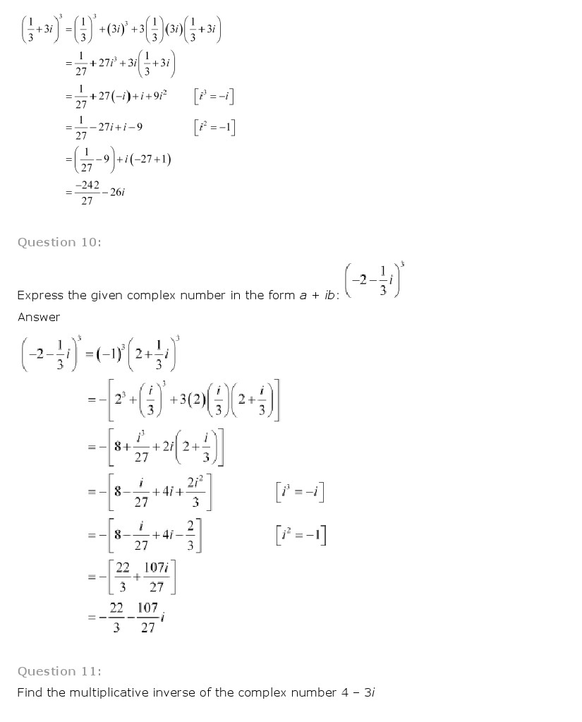Maths Book Ch 5 Complex Numbers and Quadratic Equations