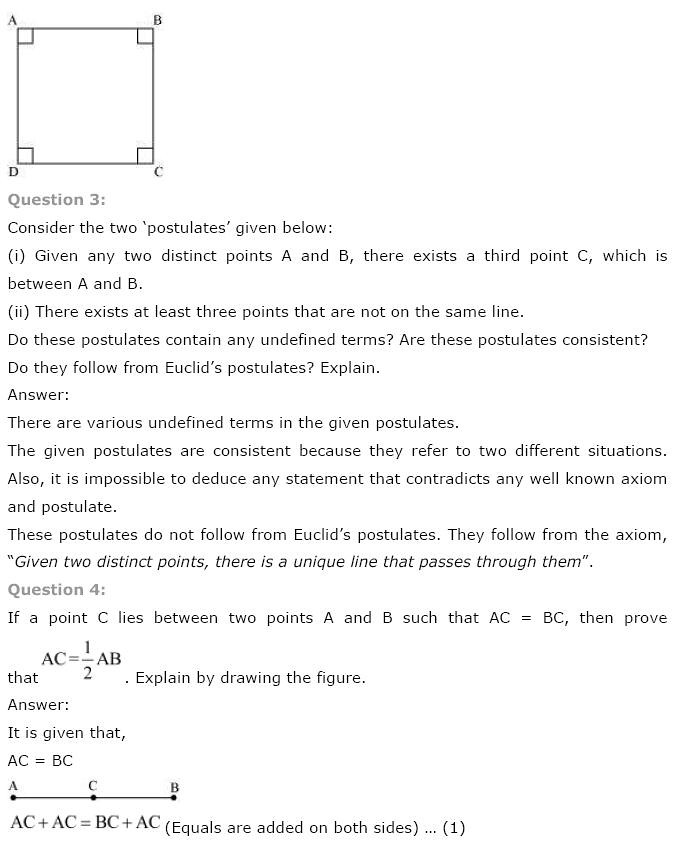 NCERT Solutions For Class 9th Maths Solutions Chapter 5 Introduction to Euclid's Geometry PDF Download 2018-19