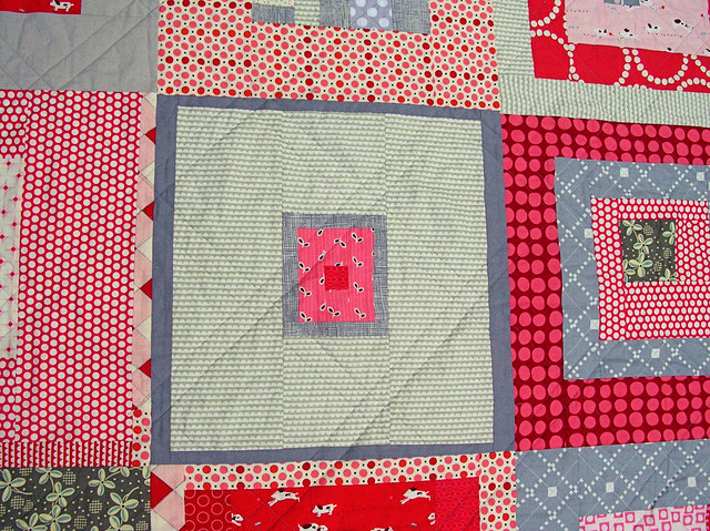Red + Gray quilt detail
