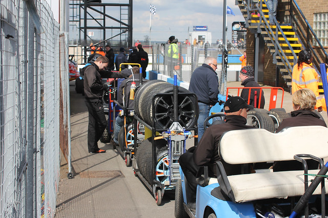 Tyres arrive for a BTCC race at Donington Park in BTCC in April 2012