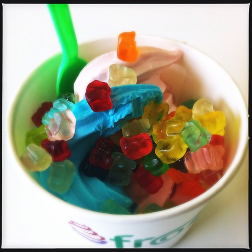 Today's adventure in #Lowell FroYo: Frozurt on Chelmsford St. Blue raspberry, strawberry & strawberry shortcake plus gummi bears.