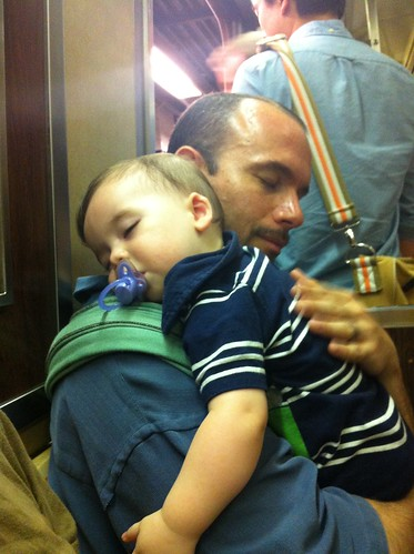American Museum of Natural History - Sagan and Daddy Rest on Subway (By Rachelle Somma)