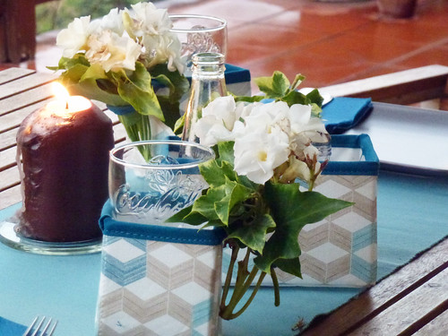 tablescape in Brown & Turquise