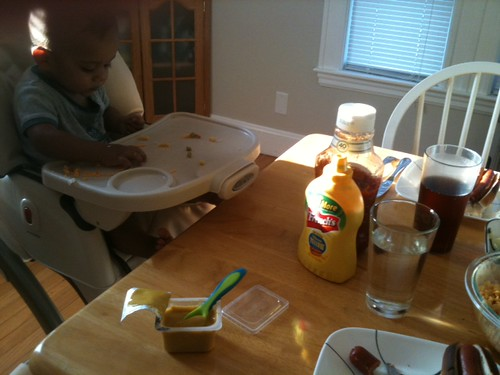 baby at dinner table