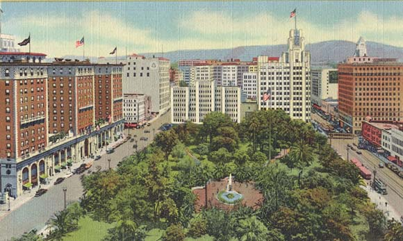 pershing square aerial view postcard