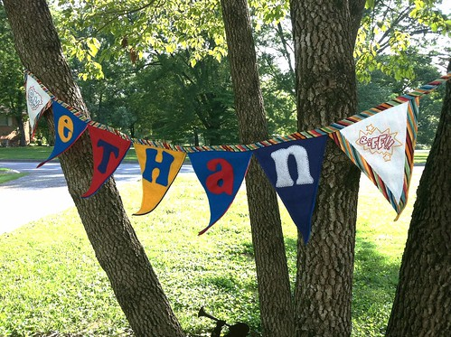 custom pennant name banners: superhero style (hand embroidered)