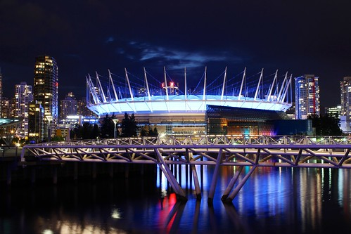 BC Place Stadium and False Creek at night. Vancouver BC Canada