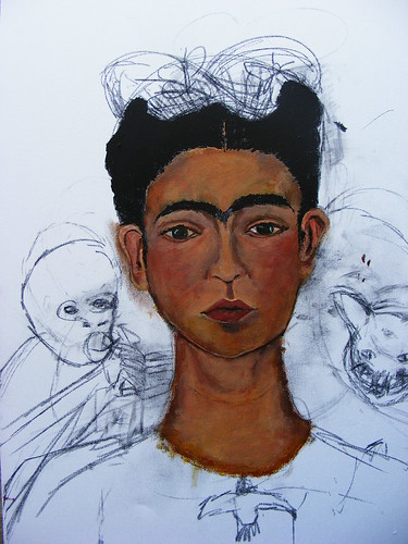 Frida Kahlo Self-Portrait 1940 Study WIP #3
