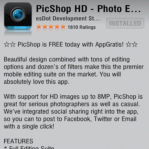 Pic Shop HD free for limited time (regularly $4.99). It's definitely worth checking out. #iphoneography #iphoneonly #free #app #appstore by damn_que_mala