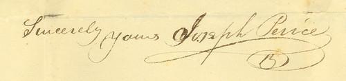Joseph Peirce's signature, 1812